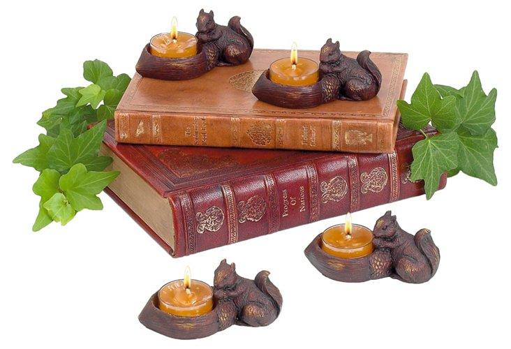 S/4 Squirrel w/ Acorn Tea Light Holders