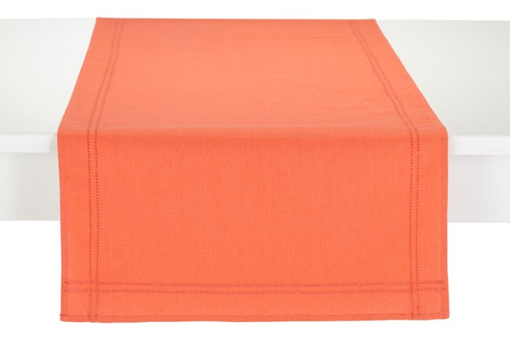 Heirloom Hemstitch Table Runner, Coral