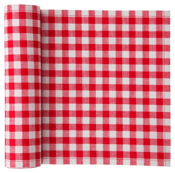 S/12 Place Mats, Red Gingham