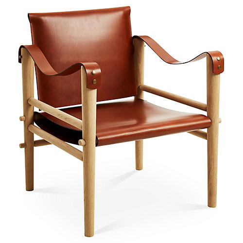 Toulouse Accent Chair, Whiskey Leather