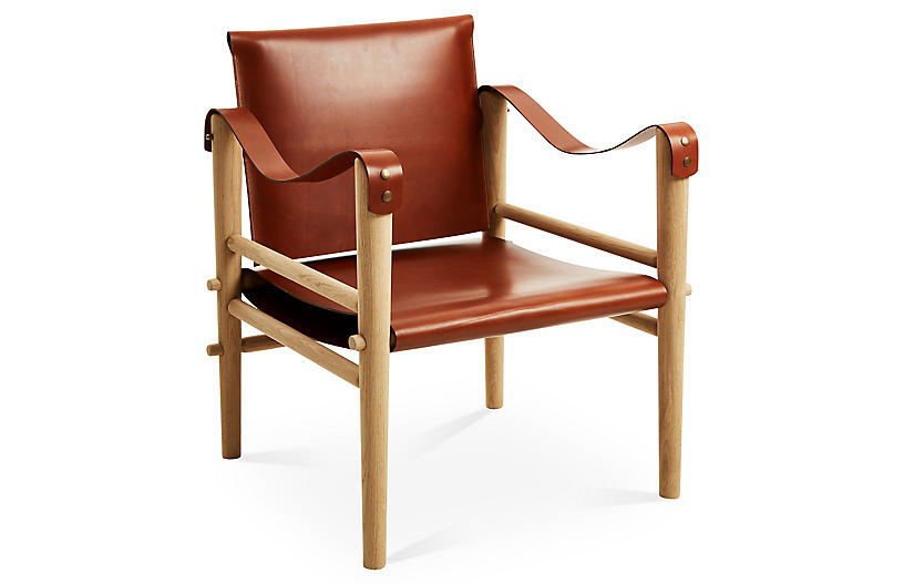 Toulouse Accent Chair, Whiskey Leather - Temps Libre - Brands   One ...