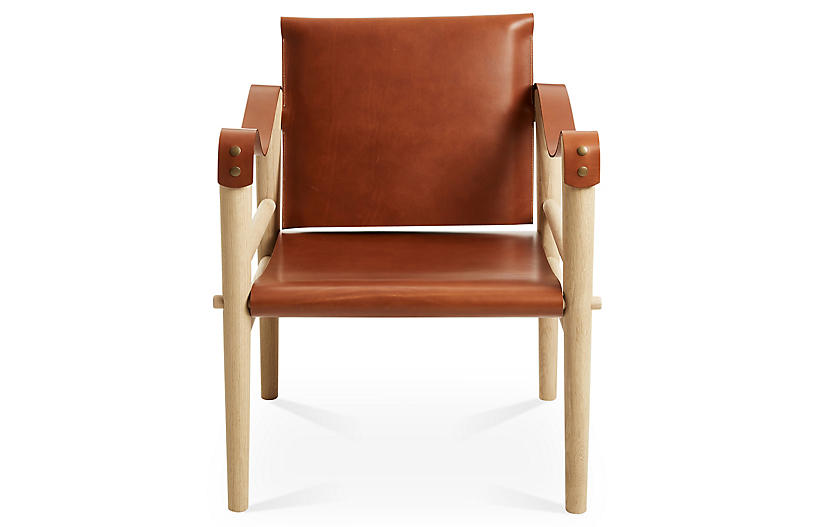 toulouse accent chair whiskey leather temps libre brands one kings lane. Black Bedroom Furniture Sets. Home Design Ideas