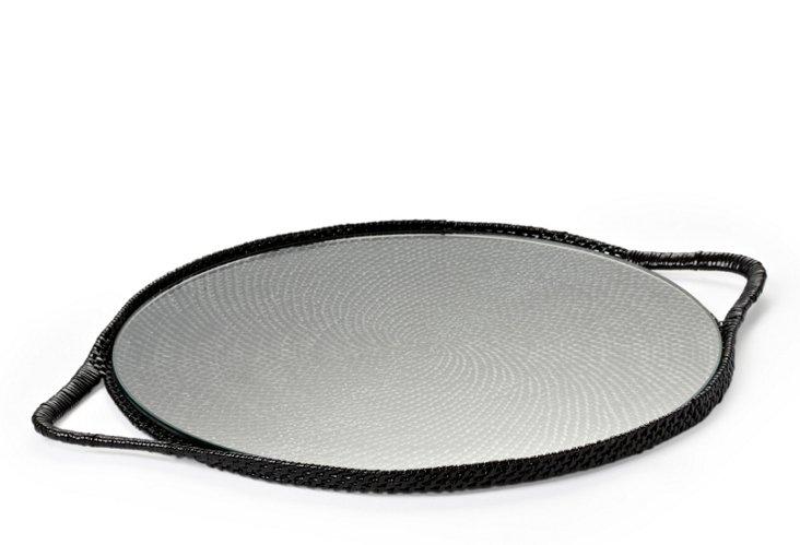 Black Round Serving Tray w/ Glass