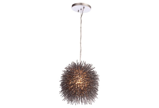 Urchin Mini Pendant, Painted Chrome