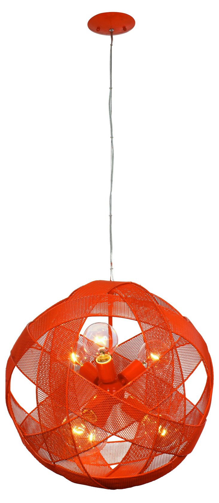 Mesh Sphere 6-Light Pendant, Tangerine