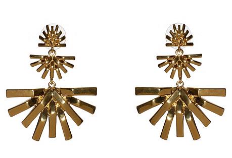 Palm Grass Chandelier Earrings, Gold