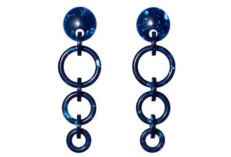 Wind Chime Hoop Earrings, Ocean Blue