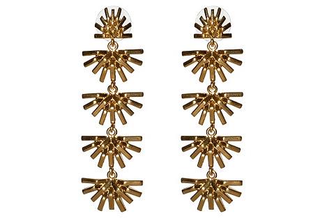 Palm Grass Linear Drop Earrings, Gold