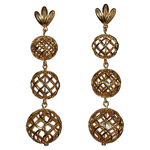 Tiered Pineapple Drop Earrings, Gold