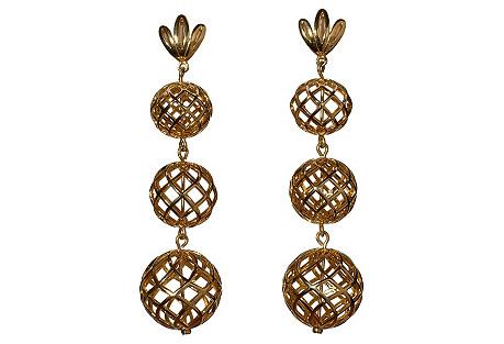 Tiered Pineapple Drop Earrings, Gold