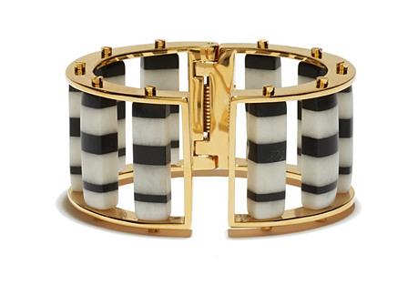 Barrel Slider Bracelet, Black/White