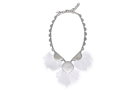 Feathered PomPom Necklace, Silver