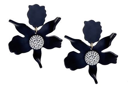 Crystal Lily Earrings, Jet Black