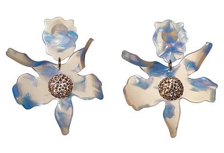 Crystal Lily Earrings, Cloudy Sky