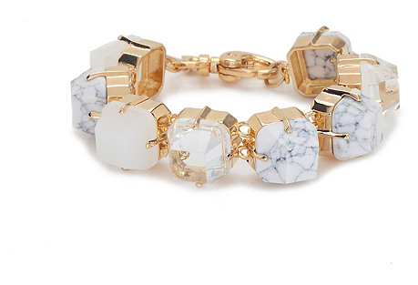 Faceted Cube Bracelet, Marble Ivory