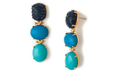 Triple Drop Earrings, Aegean Blue