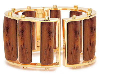 Tall Wood Bracelet, Gold
