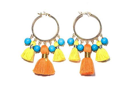 Cabana Large Tassel Earrings, Orange