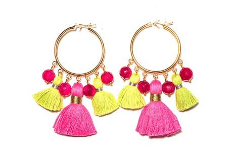 Cabana Large Tassel Earrings, Pink