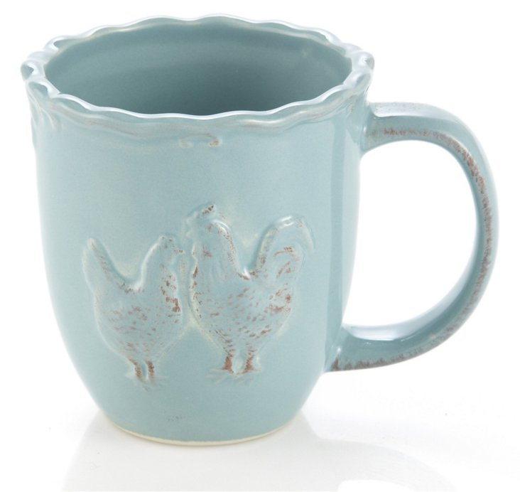 S/4 Rooster Mugs, Blue