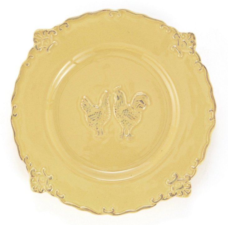 S/4 Rooster Salad Plates, Yellow