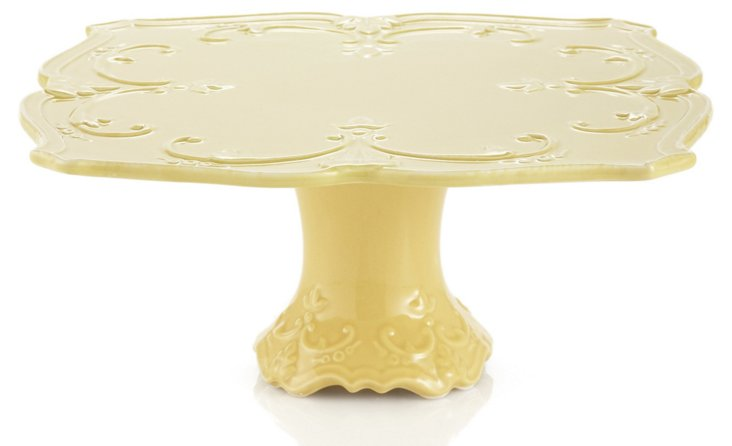 Fleur-de-Lis Cake Plate, Yellow