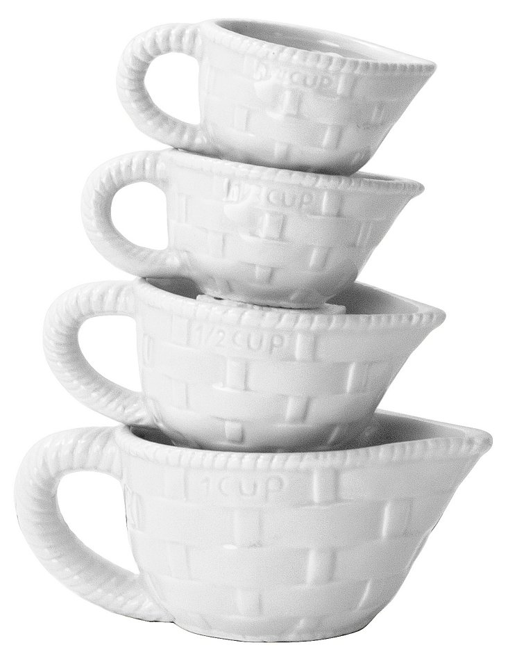 4-Pc Bright Measuring Cup Set, White