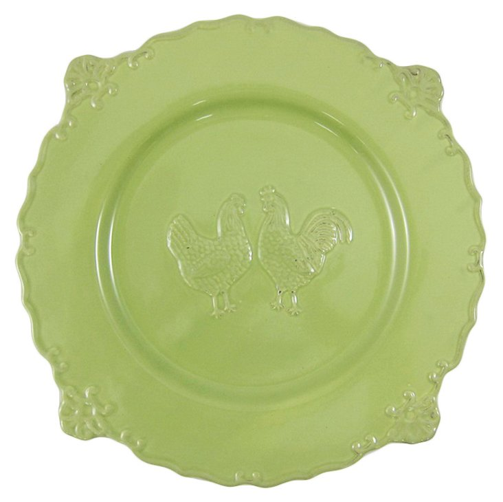 S/4 Rooster Dinner Plates, Green