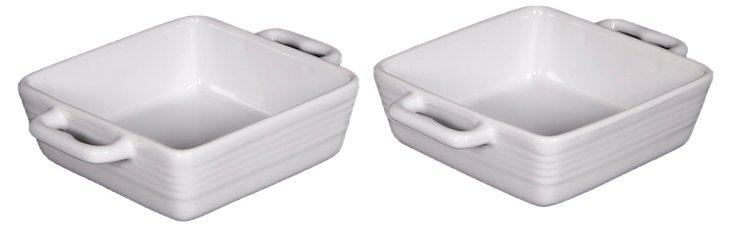 S/2 Mini Ceramic Bakers, White