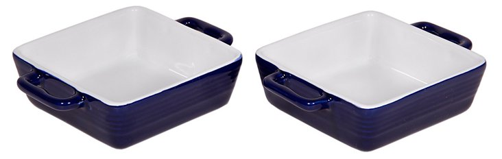 S/2 Mini Ceramic Bakers, Cobalt