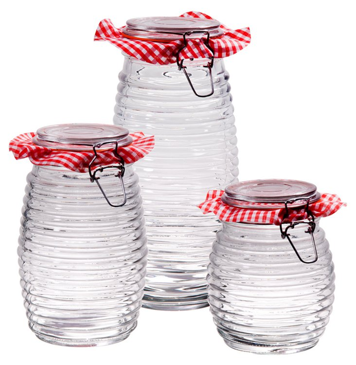 S/3 Assorted Klein Ribbed Canisters