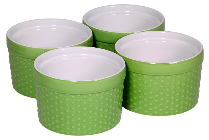 S/4 Green Hobnail Ramekins, 6 Oz