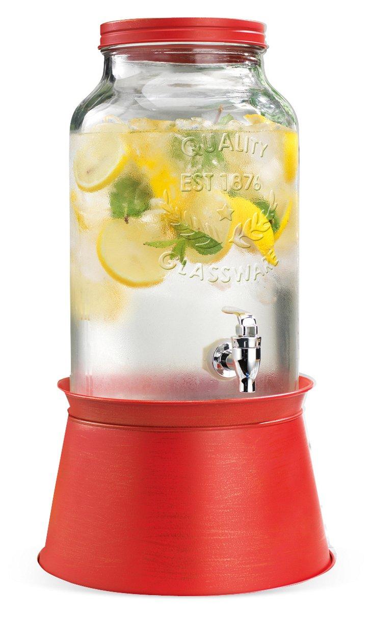 Galvanized Drink Dispenser, Red