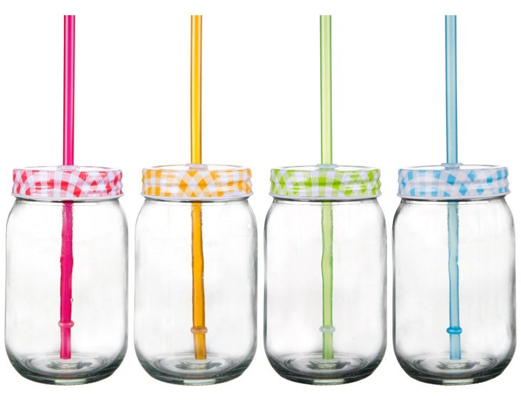 Asst of 4 Gingham Mason Jars & Sippers