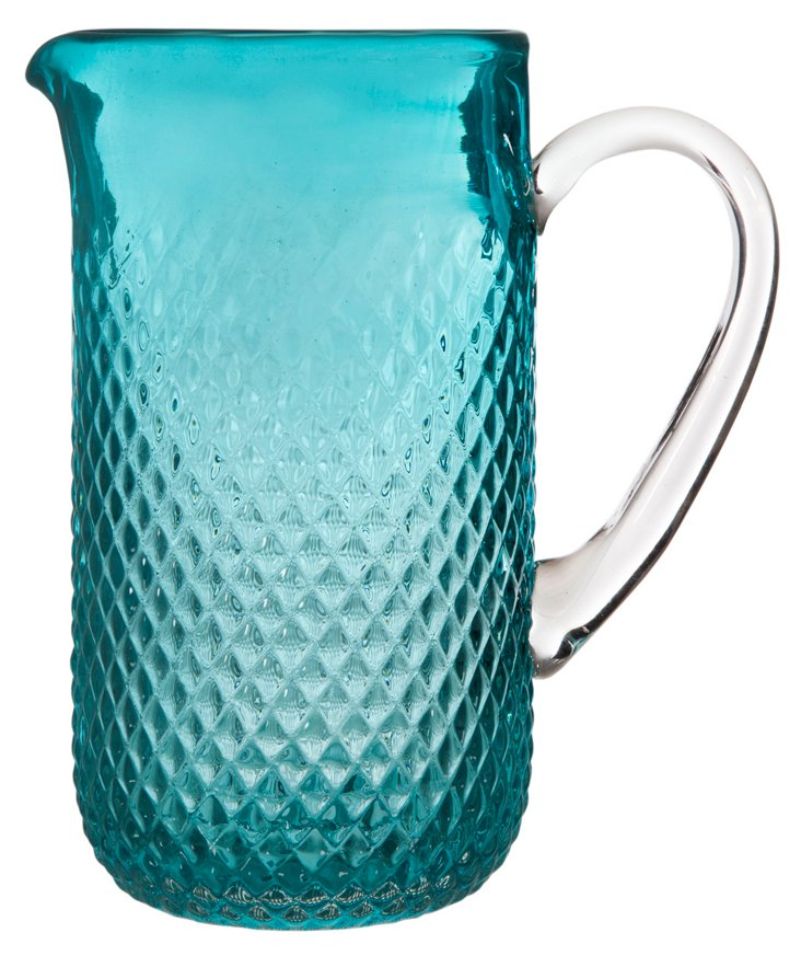 Glass Pitcher, Teal