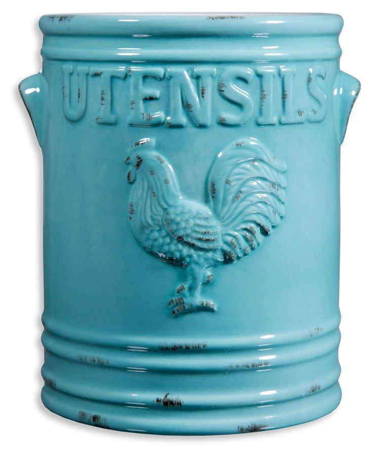 Rooster Utensil Crock, Aqua