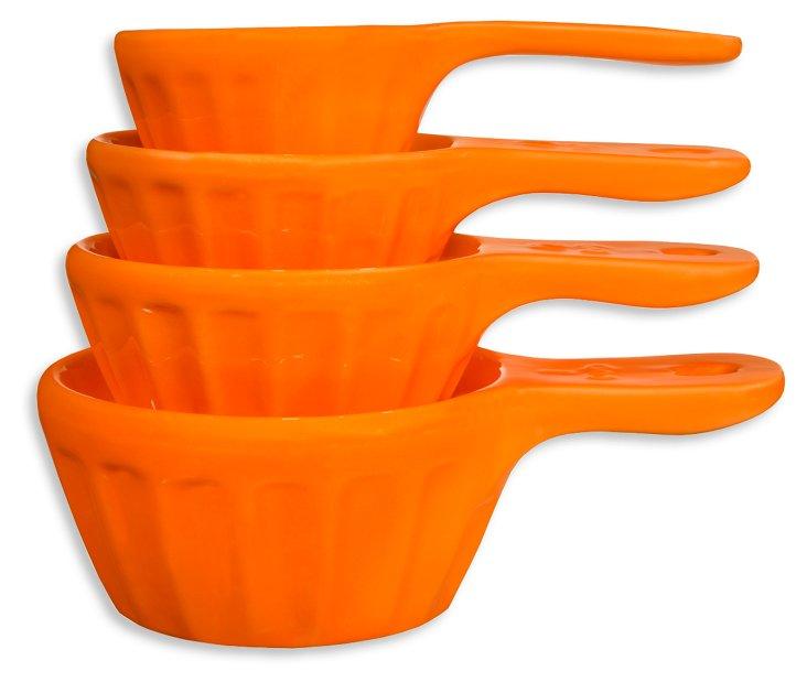 S/4 Nested Measuring Cups, Orange