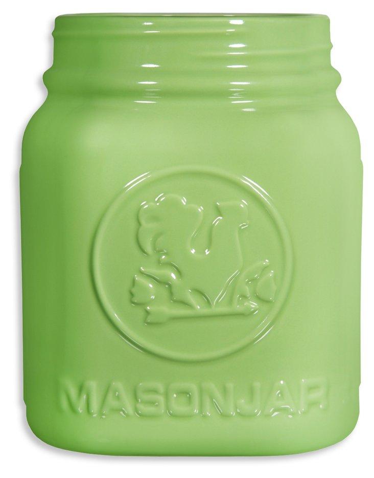"""Mason Jar"" Utensil Crock, Lime"