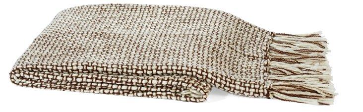 Basketweave Throw, Brown/Ivory