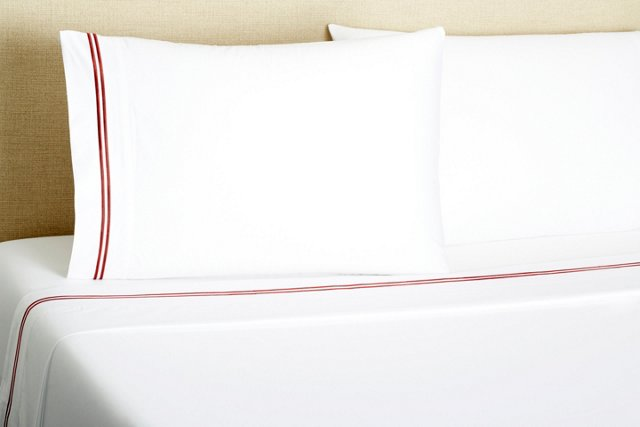 2-Stripe Embroidered Sheet Set, Burgundy