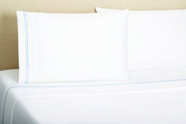 2-Stripe Embroidered Sheet Set, Slate