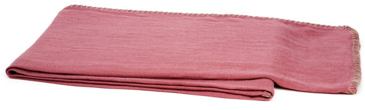 Whipstitch Linen Throw, Rose/Taupe
