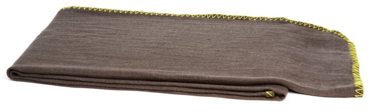 Whipstitch Linen Throw, Brown/Lime