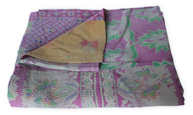 Hand-Stitched Kantha Throw, Paisley