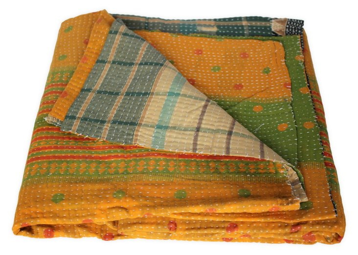 Hand-Stitched Kantha Throw, Tanner
