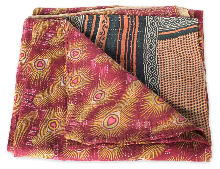 Hand-Stitched Kantha Throw, Ashley