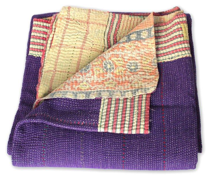 Hand-Stitched Kantha Throw, Junaritami