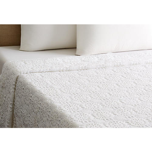 Crochet Coverlet, White