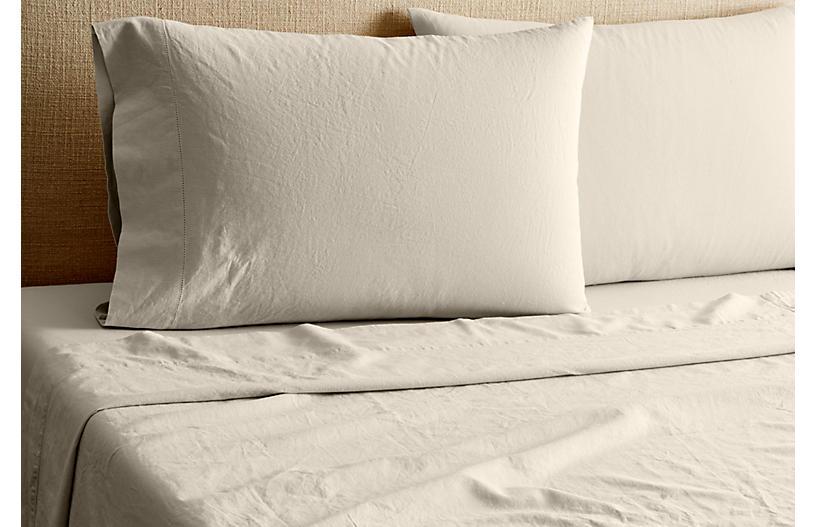 Linen-Blend Hemstitch Sheet Set, Gray
