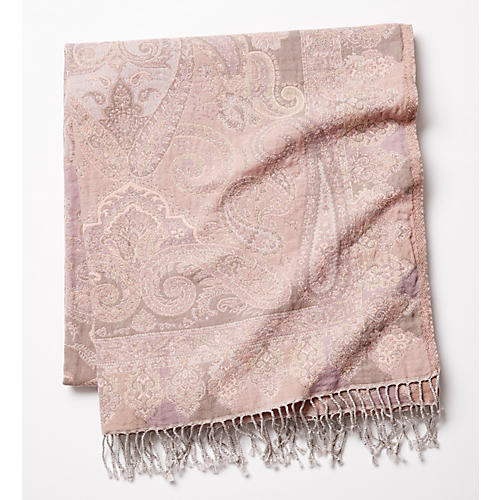 Catalina Cotton-Blend Throw, Dusty Pink